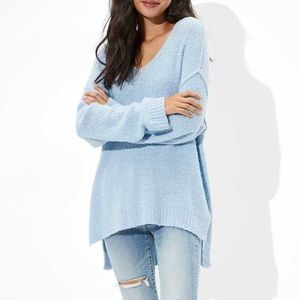 American Eagle Oversized Textured V-Neck Sweater